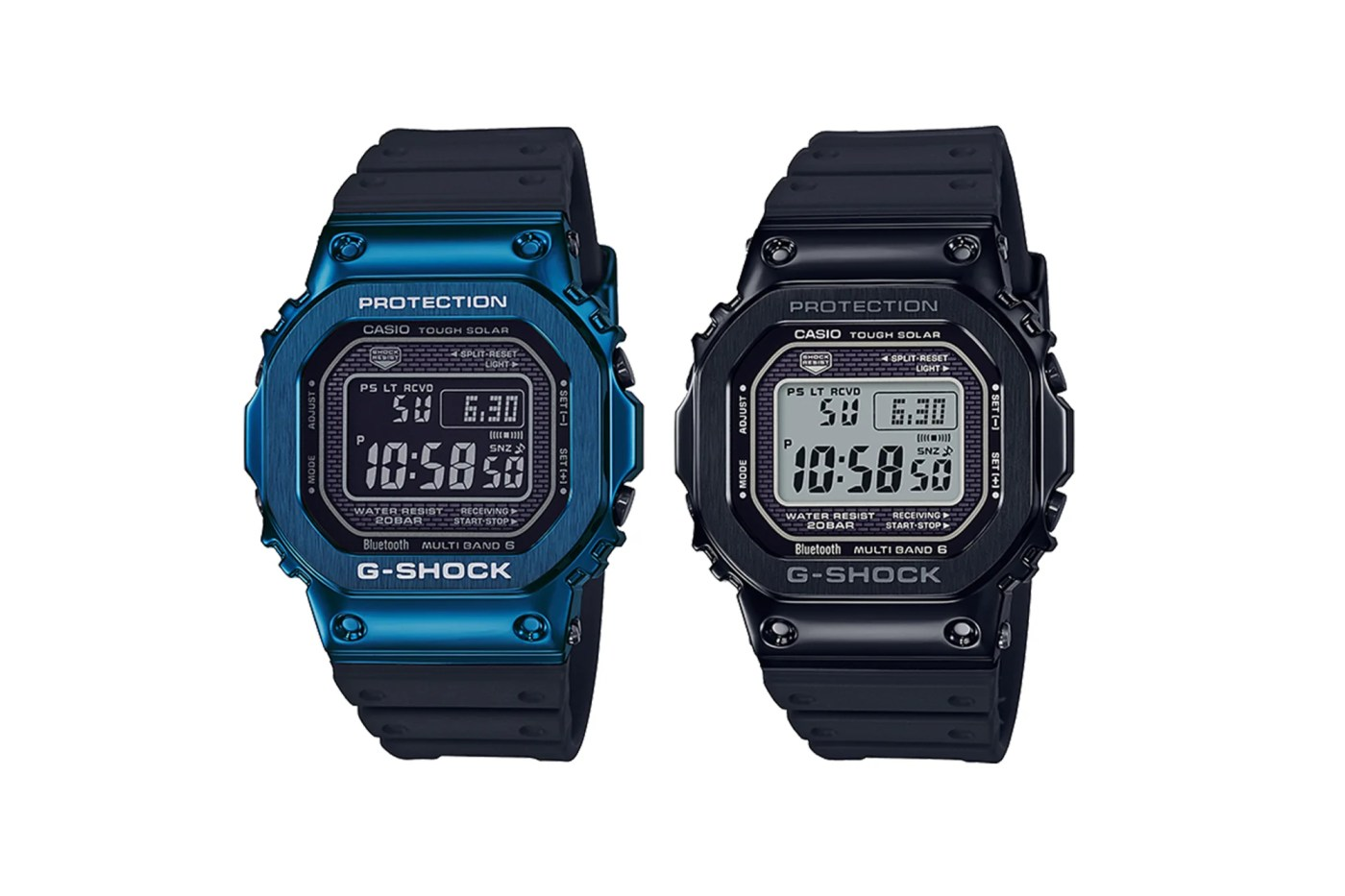 Casio Full Metal 5000 blue-and black rubber strap models