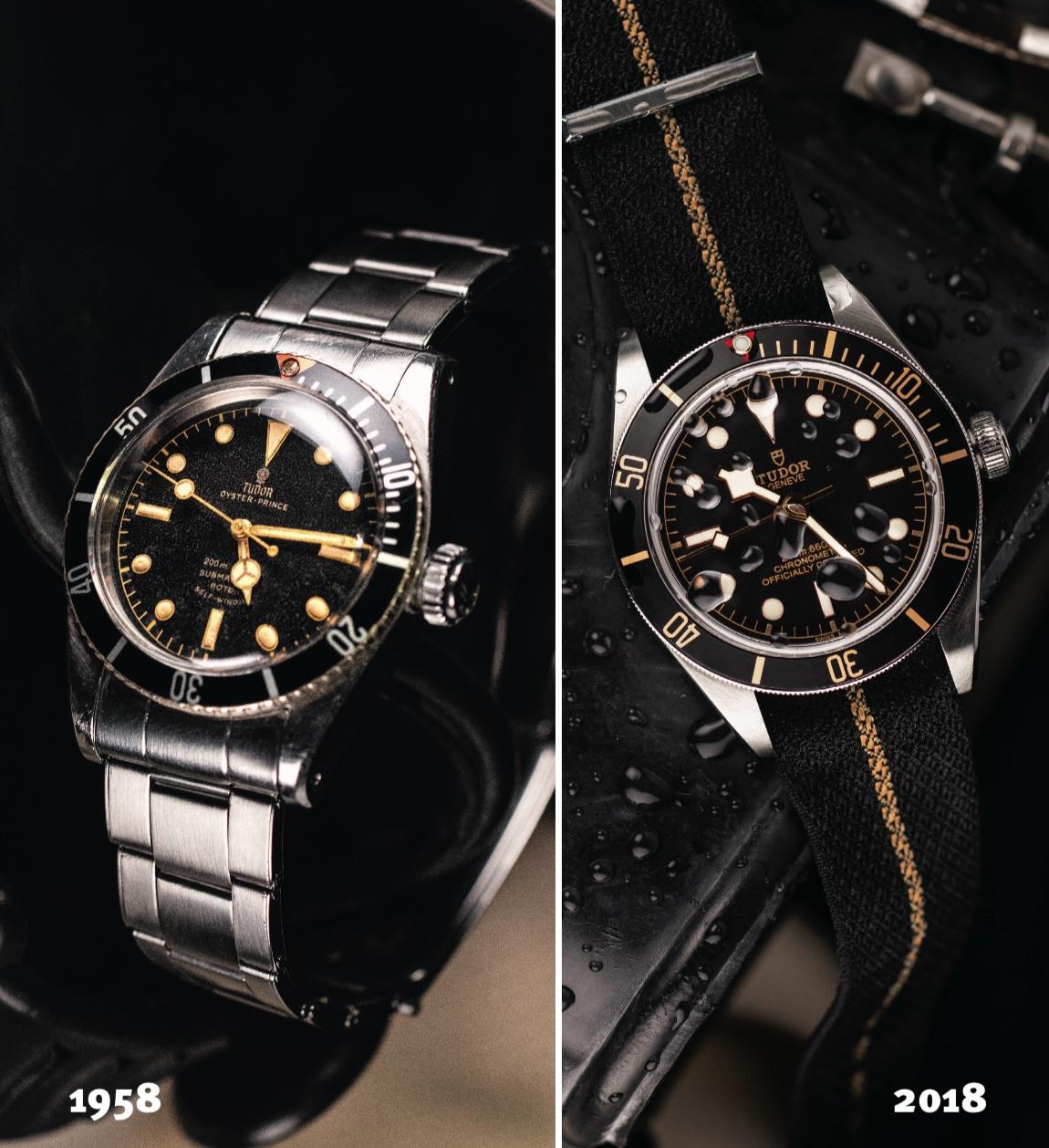 1958 Tudor Submariner-Ref. 7924 next to 2018 Tudor Black Bay 58 Ref. 79030N