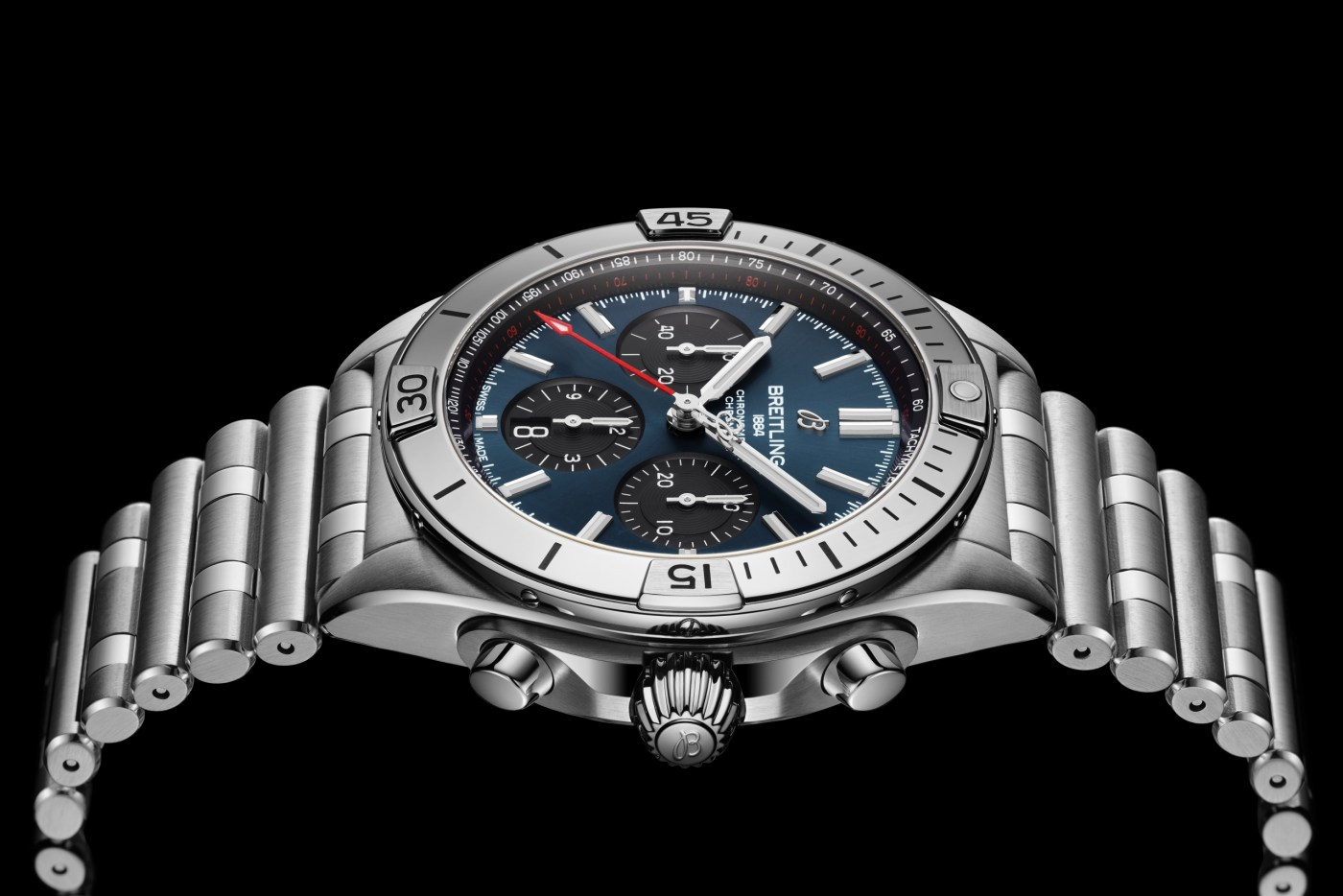 Chronomat B01 42 with a blue dial and black contrasting chronograph counters