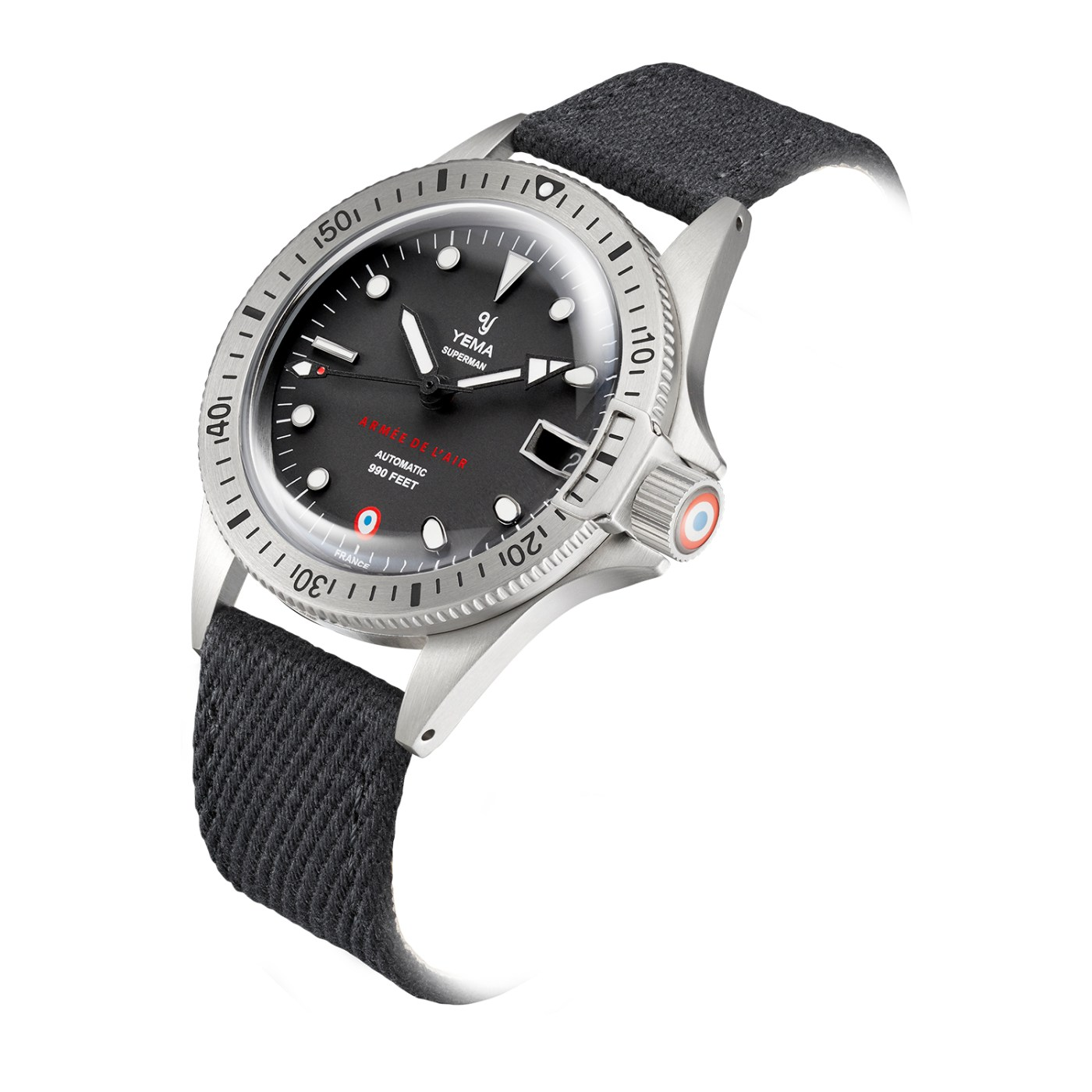 Yema Superman French Air Force Steel Limited Edition on textile strap