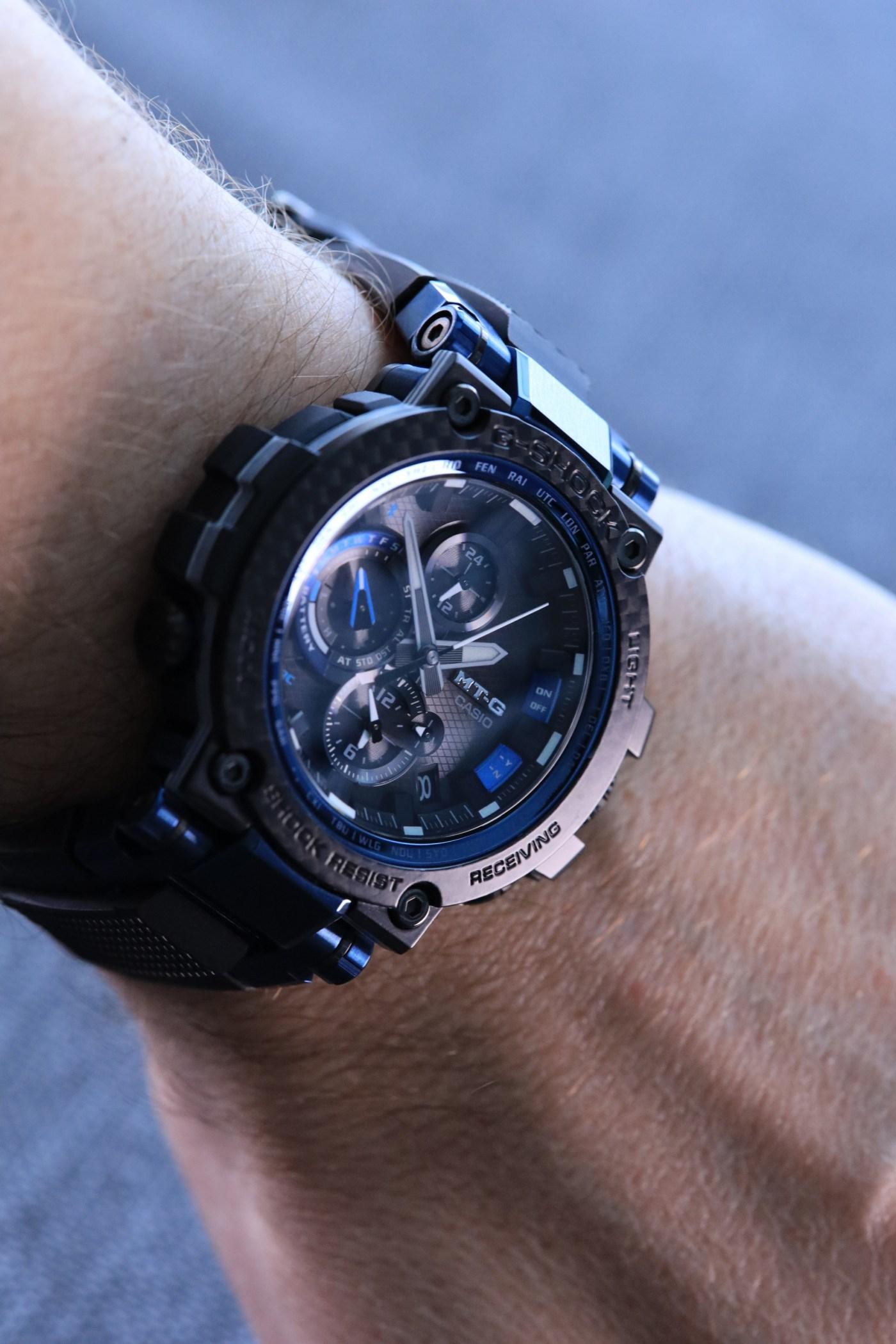 G-Shock MT-G Carbon Fiber MTGB1000XB-1A close-up wristshot