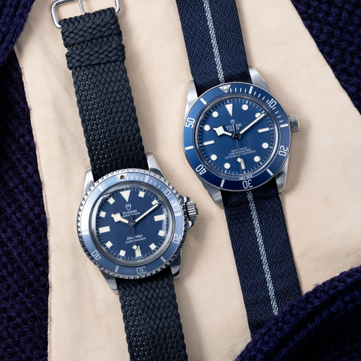 Tudor Black Bay Fifty-Eight Navy Blue next to Submariner Marine Nationale