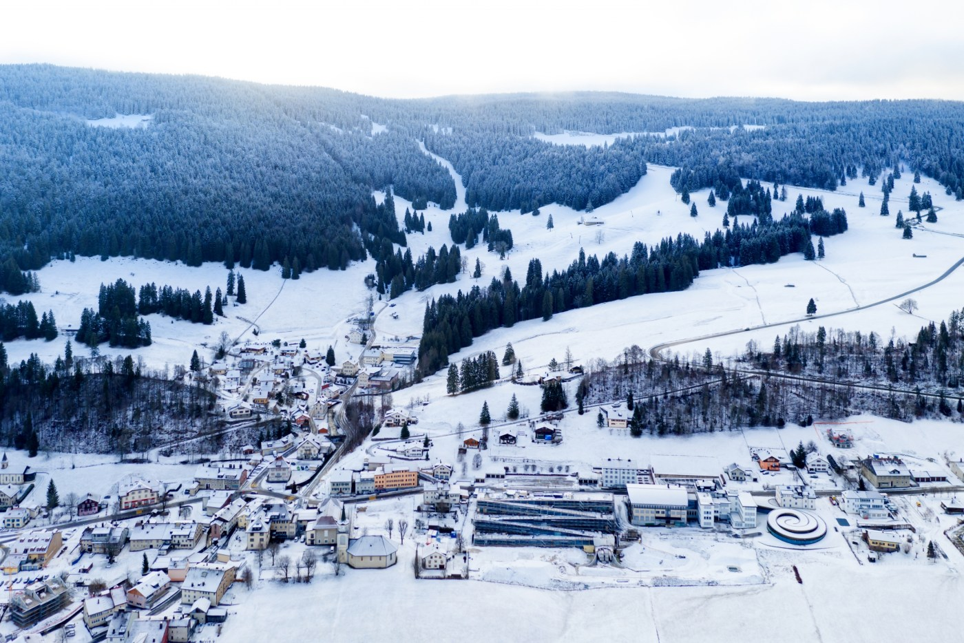 Looking down on Le Brassus and the Vallee de Joux