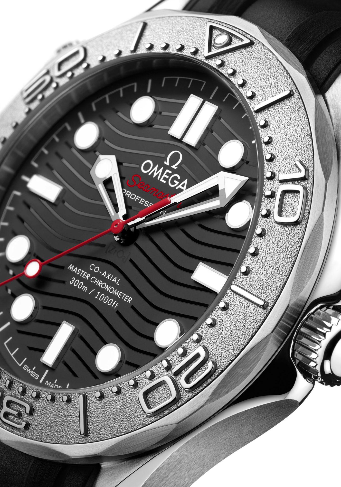 Omega Seamaster Diver 300M Nekton Edition close up dial