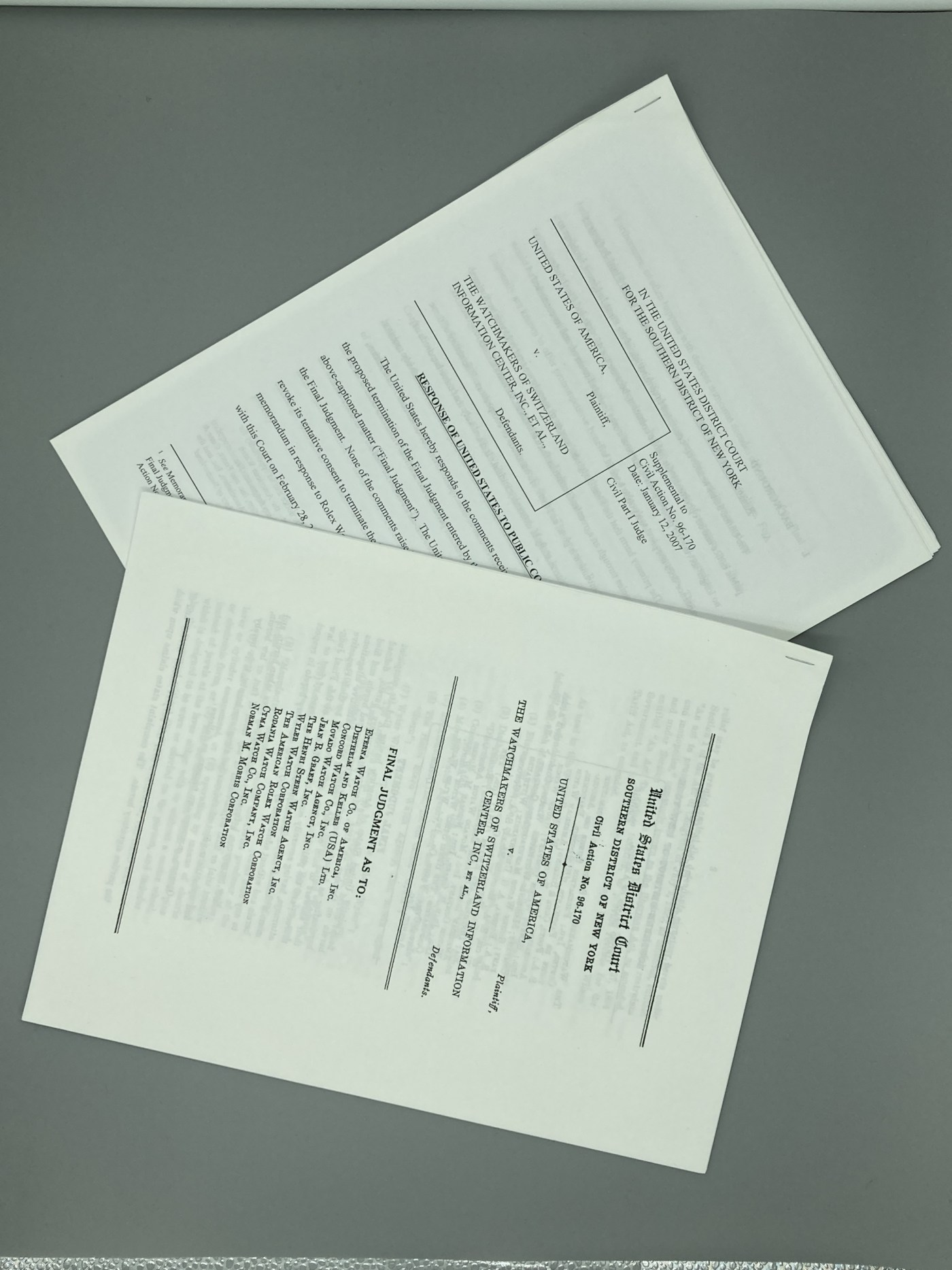 Documents from the original consent decree (1960) and its repeal (2007)