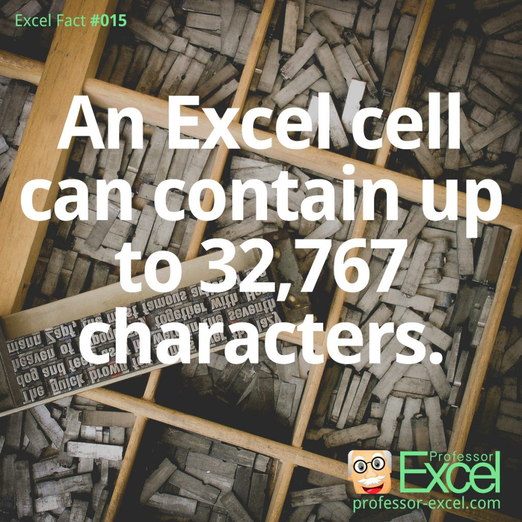 excel, fact, facts, number, of, characters, in, cell, maximum