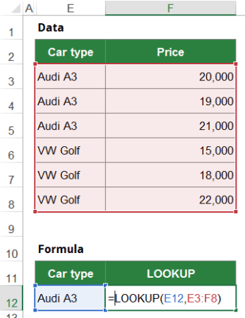 example, lookup, array, form