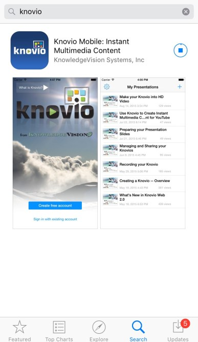 Knovio Mobile App from iOS App Store