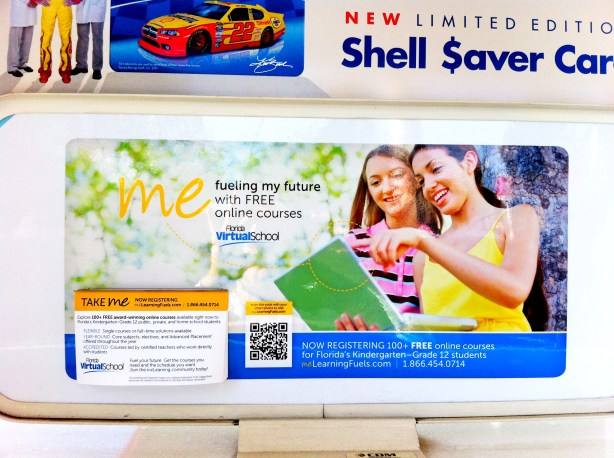QR Code for Florida Virtual School at local Shell Gas Station