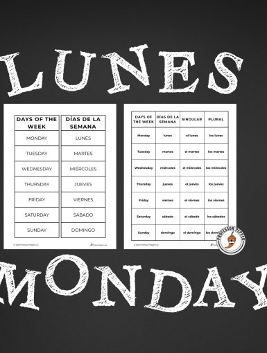 Free Spanish Days of the Week Prinout