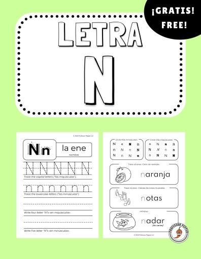 Free Spanish Letter N Worksheet Professor Pepper