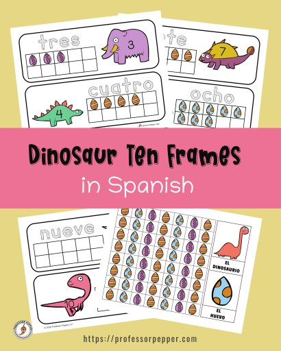 Free Dinosaur Ten Frames in Spanish