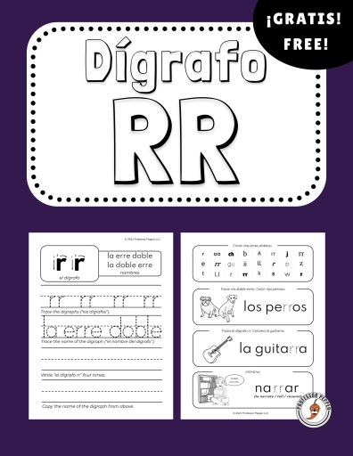 The two pages from the free Spanish Digraph RR worksheet