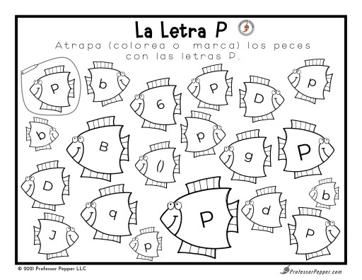 """Example page from Spanish Summer printable - """"Fish"""" for the Letter P"""