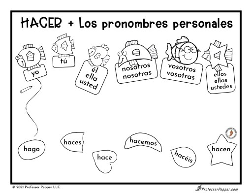 Page from Spanish summer printable:  Connect personal pronoun fish with the correct conjugation of the verb HACER