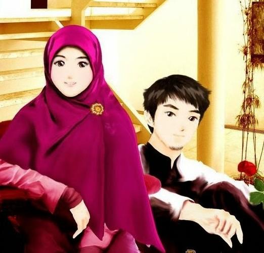 gambar-kartun-suami-istri-muslimah