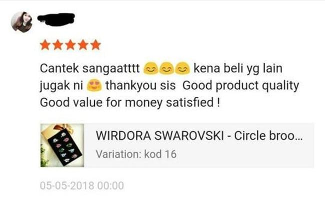 Selain itu Swarovski & Wirdora Crystal untuk Tudung Atau Doorgift