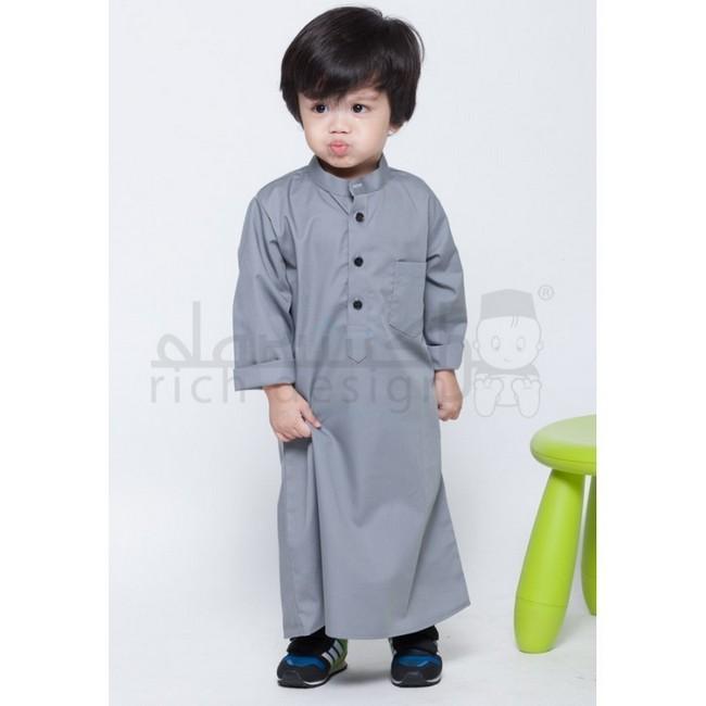 jubah kanak kanak grey