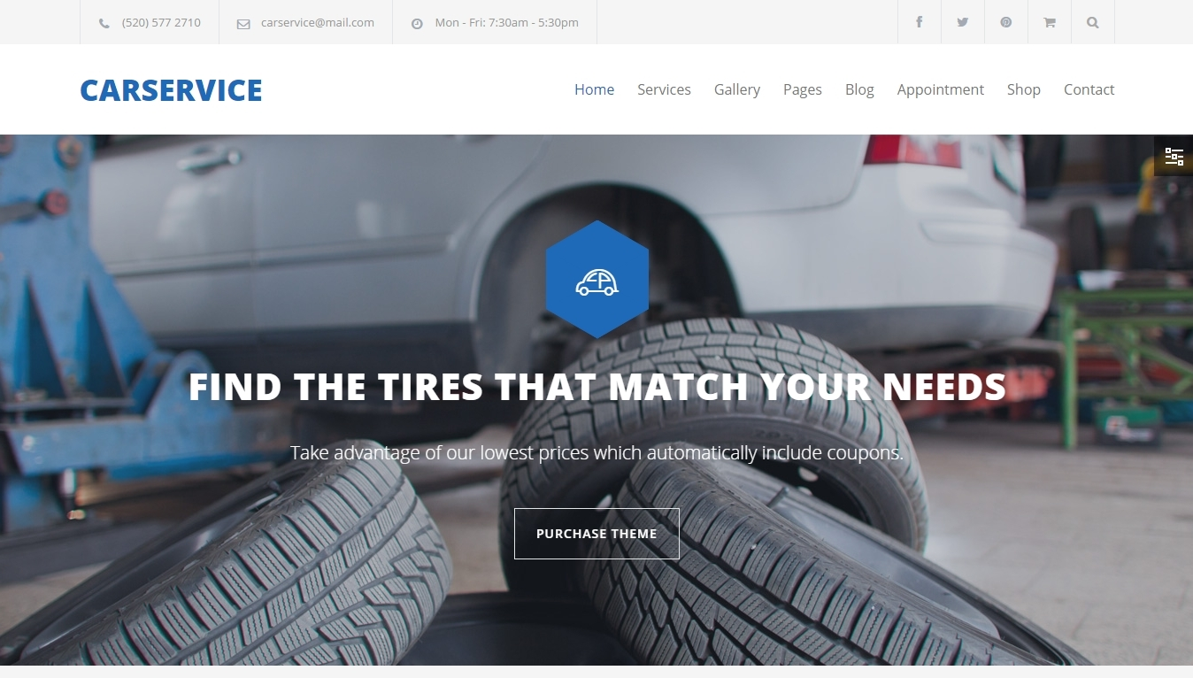 Car Service – WordPress theme for an automobile shop