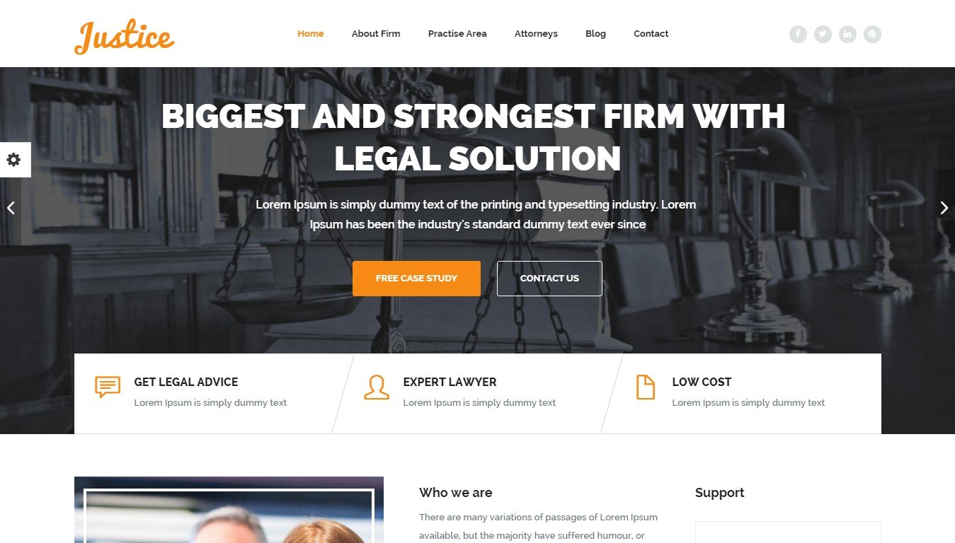 Justice, Legal Expert WordPress Themes