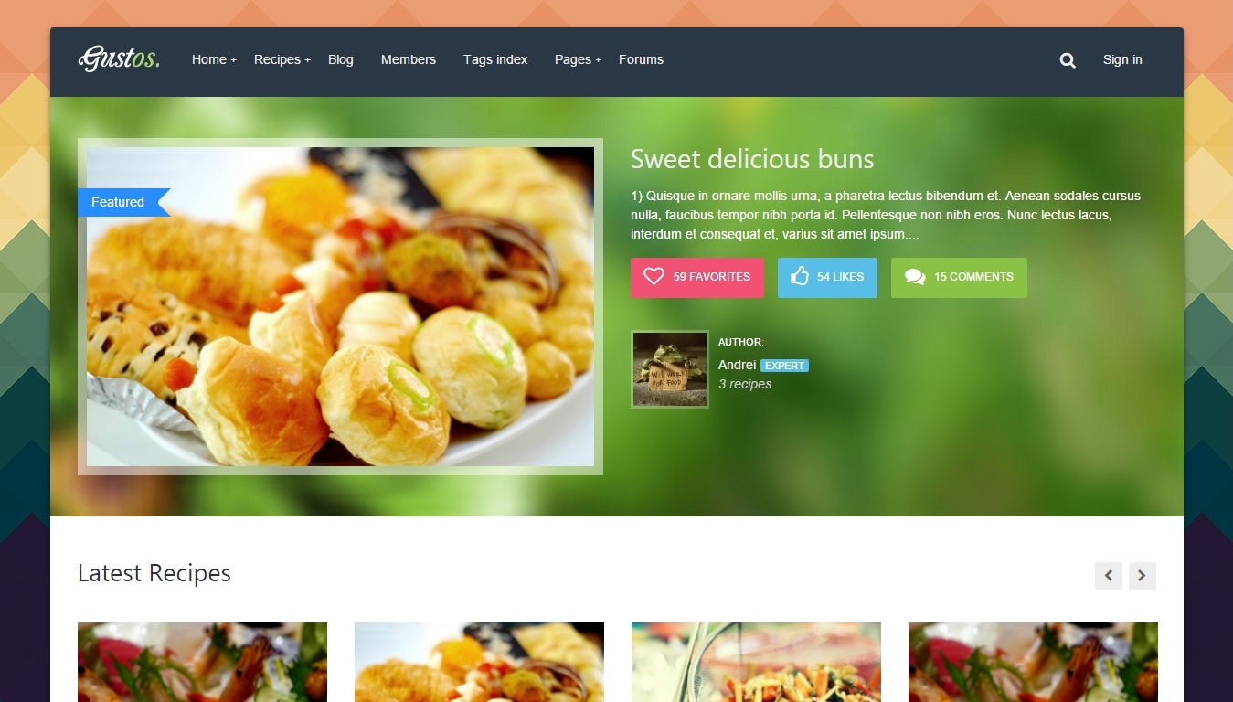 Recipes Forum and Community WordPress Themes 2016