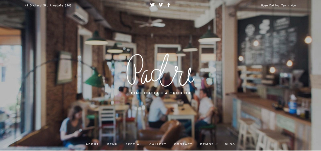 Wordpress theme for a bakery and restaurant