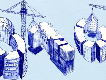 Illustratie van gebouwen die 010 vormen