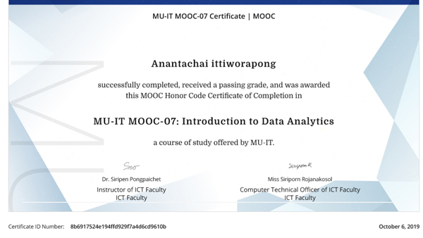Certificate Data Analytic