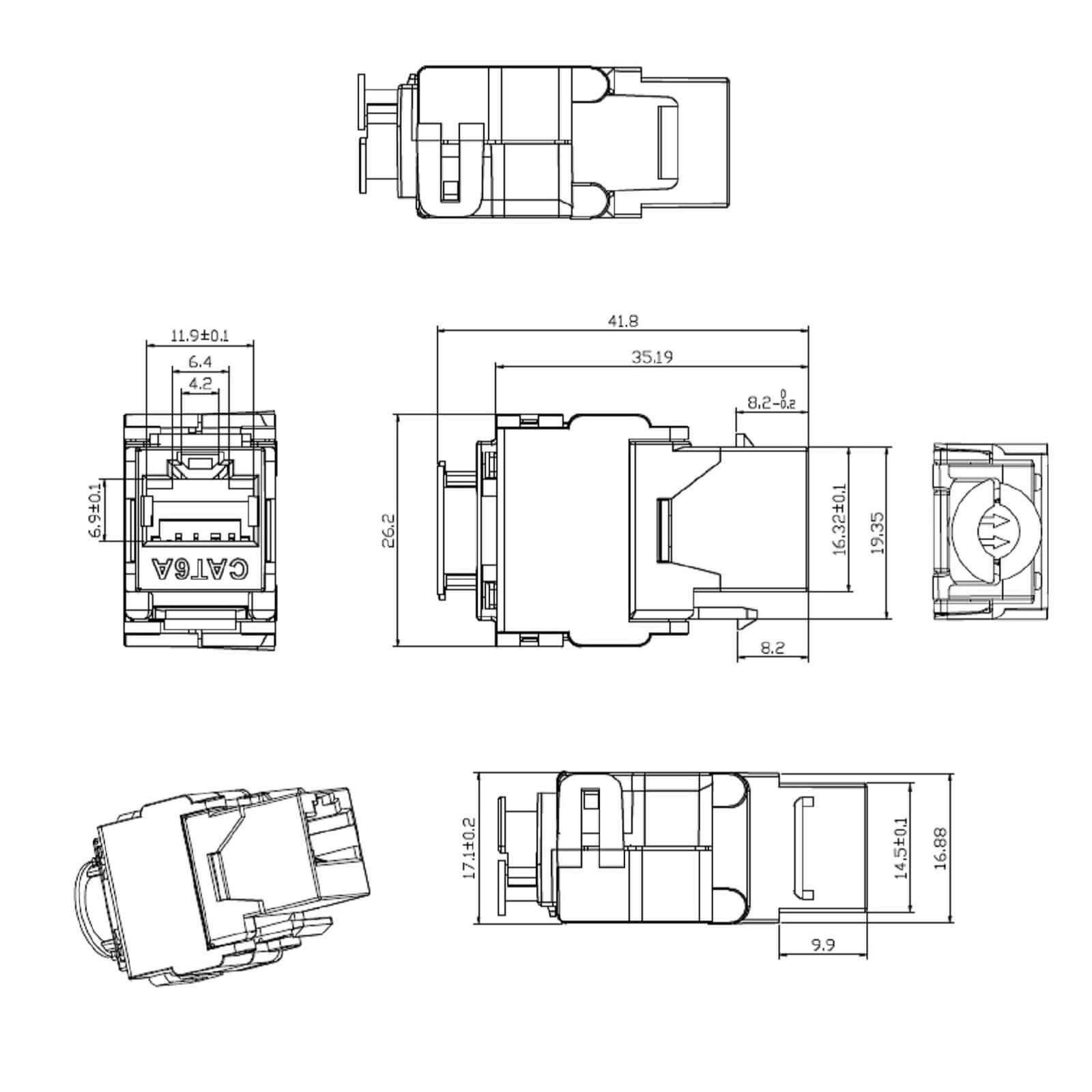 Keystone Jack Modul Cat 6a Rj45 Stp Werkzeuglos Netzwerk