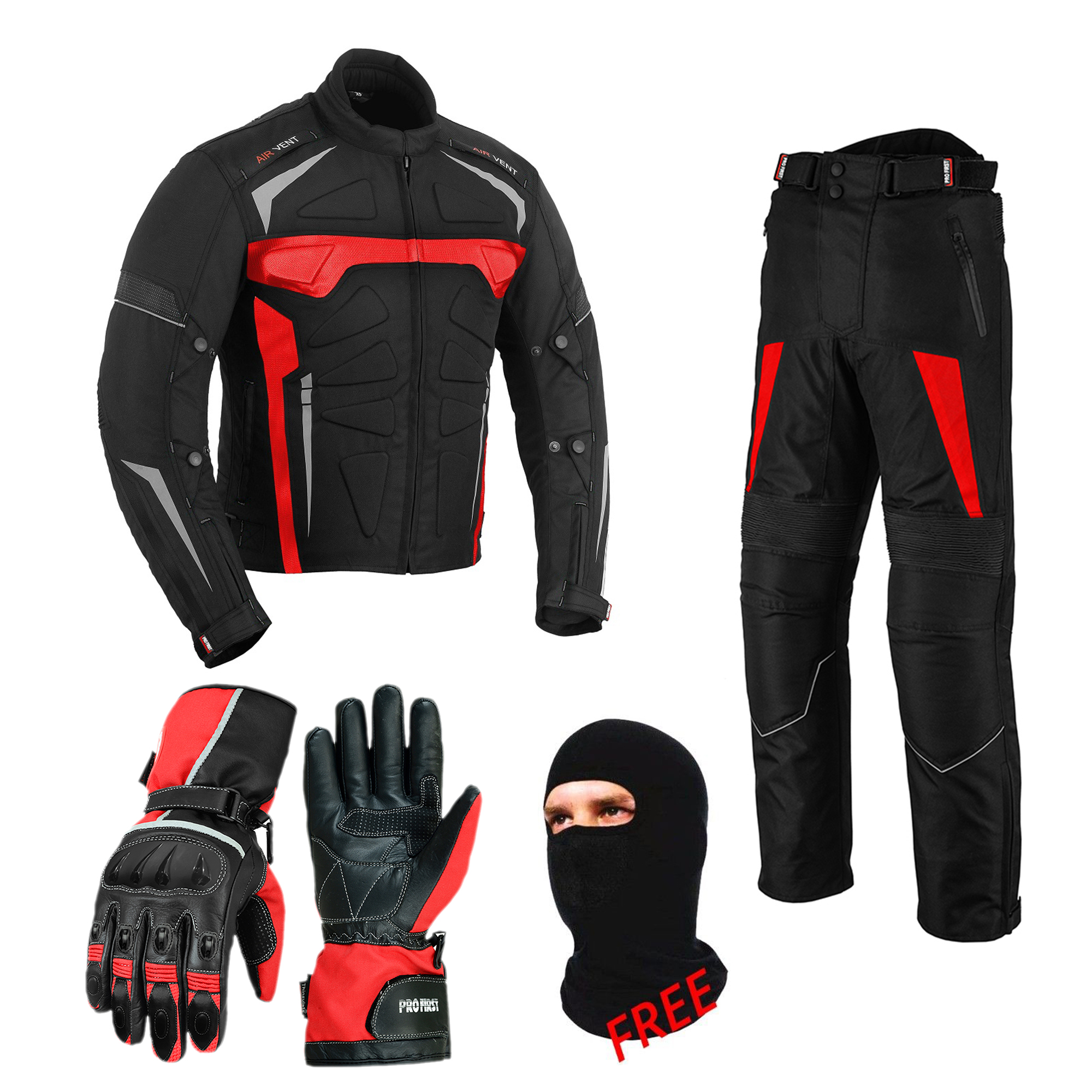 Regular Length 32 inches - Black /& Red, X-Large 36 Waist TR-425 Profirst CE Approved All Weather Waterproof Armoured Motorbike Motorcycle Trouser Pant with Removable Lining