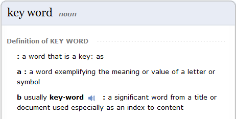 keyword definition