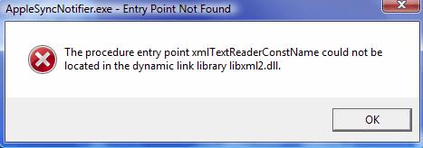 "AppleSyncNotifier.exe Entry Point Not Found"" Error"