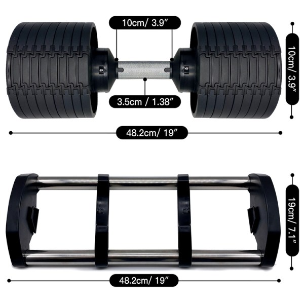 NuoBell 80 Pound Adjustable Dumbbell Set Dimensions