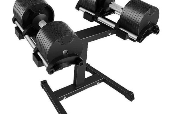 NuoBell 80 Pound Adjustable Dumbbells with rack