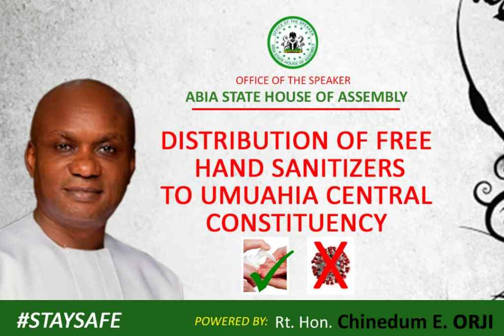 Covid-19: Abia Speaker distributes hand sanitizer to constituents
