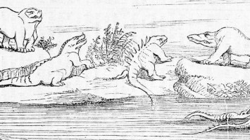 Illustration from Benjamin Waterhouse Hawkins' (1854) public lecture on creating Crystal Palace Dinosaurs
