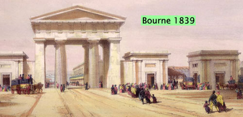 East-leaning section of neo-classical screen. London Terminus at Euston Grove, from John C. Bourne (1839) Drawings of the London and Birmingham Railway (London: Ackermann and Co.).