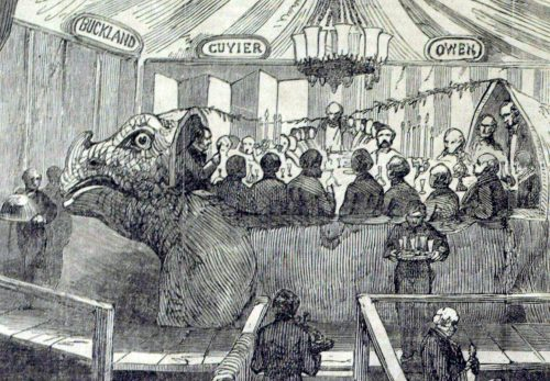Dinner in Iguanodon statue on New Year's Eve 1853/4. In Illustrated London News, 07 January 1854