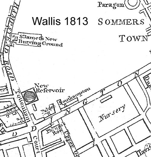 Map. Wallis 1813, showing pasture land prior to definition of Euston Square and Euston Grove along the Paddington to Islington Road