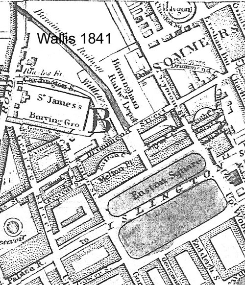 Map. Wallis 1841, showing Euston Terminus, Euston Square and Euston Grove along the Paddington to Islington Road.