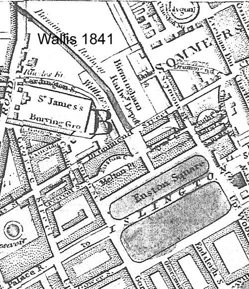 Map. Wallis 1841, showing Euston Terminus, Euston Square and Euston Grove along the Paddington to Islington Road.