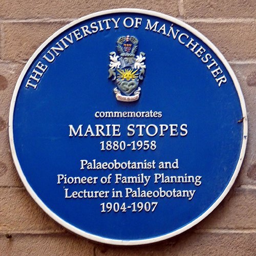 "Blue plaque commemorating Marie Stopes on Beyer Building, University of Manchester "" ProfJoeCain"