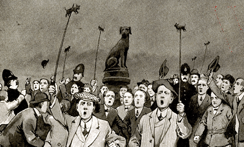 Protest by University of London medical students at Brown Dog Statue in Battersea Park (from Ford 1908)