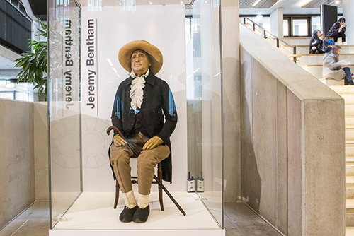 Jeremy Bentham auto-icon at University College London (UCL). Copyright UCL