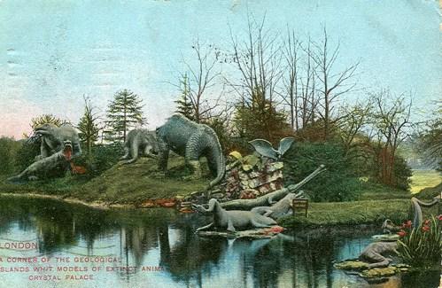 Crystal Palace Dinosaurs postcard 51 EFA showing original Pterodactyl statues circa 1900
