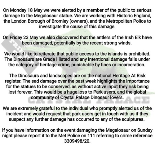 Friends of Crystal Palace Dinosaurs press release on damage to Megalosaurus