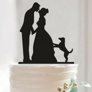 Topo bolo silhueta noivos com cão. Aprox. 13cm