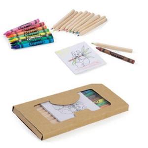 Caixa com lapis de cor ou lápis cera + Bloco + Afia