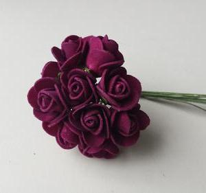 Flores mini em foam bordeaux 2cm diametro