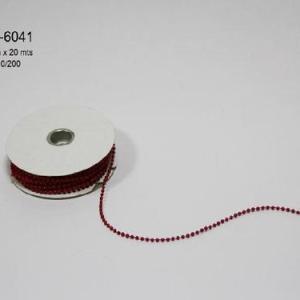 Cordão perolas vermelho 3mm x 20mt